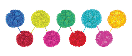 Set of happy colorful birthday party paper pom poms. Great for handmade cards, invitations, wallpaper, packaging, nursery designs.