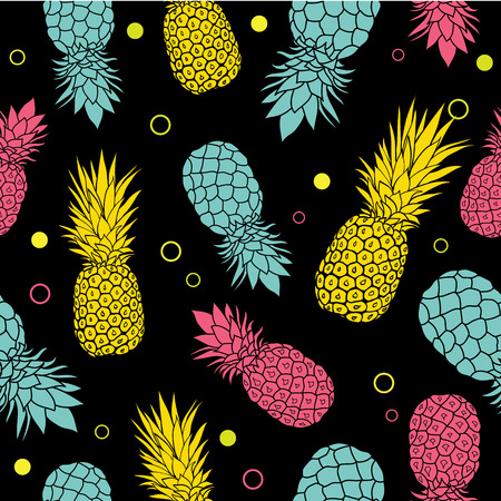 Vector black summer colorful tropical seamless pattern background. Great as a textile print, party invitation or packaging.