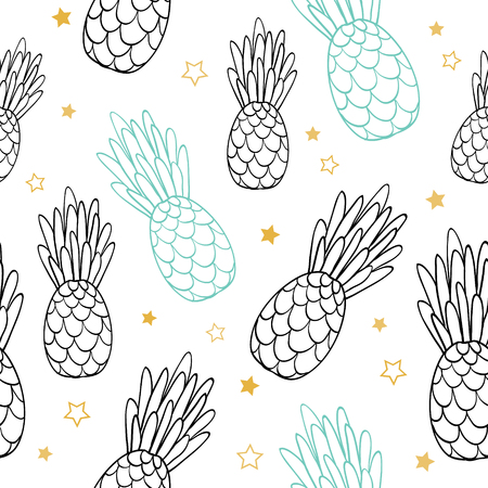 Vector doodle black blue summer tropical seamless pattern background. Great as a textile print, party invitation or packaging.
