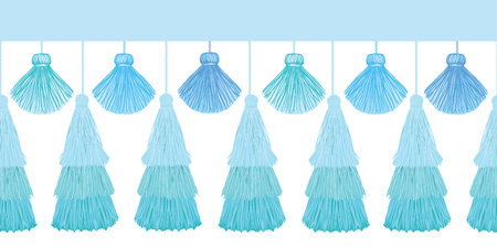 Vector Elegant Blue Layered Decorative Tassels Set Horizontal Seamless Repeat Border Pattern. Great for handmade cards, invitations, wallpaper, packaging, nursery designs.