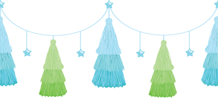 Vector Christmas Tree Blue Green Layered Decorative Tassels Set Horizontal Seamless Repeat Border Pattern. Great for handmade cards, invitations, wallpaper, packaging, nursery designs.
