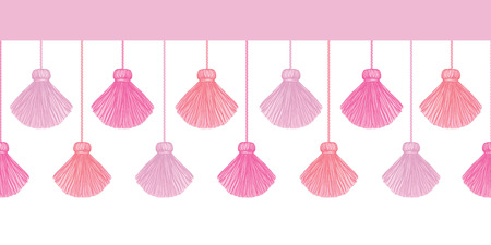 Vector Elegant Pink Decorative Tassels Set Horizontal Seamless Repeat Border Pattern. Great for handmade cards, invitations, wallpaper, packaging, nursery designs.