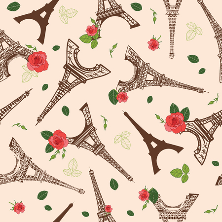 Vector Vintage Brown Eifel Tower Paris and Roses Flowers Seamless Repeat Pattern Surrounded By St Valentines Day Red Roses. Perfect for travel themed postcards, greeting cards, wedding invitations. Illustration