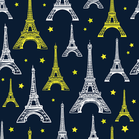 Vector Black, White, and Yellow Eiffel Tower Seamless Pattern. French vector background. Vintage fabric design in pastel colors