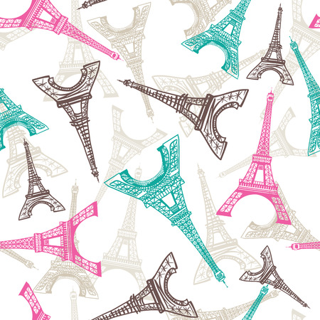 Eiffel Tower seamless pattern. French vector background. Vintage fabric texture in pastel colors Illustration