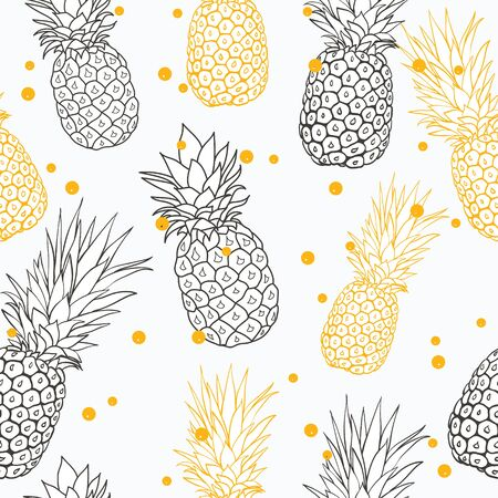 Yellow and gray pineapples on light dotted background. seamless Vector illustration.