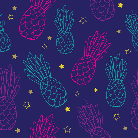 Vector doodle dark blue pink pineapples summer tropical seamless pattern background. Great as a textile print, party invitation or packaging. Illustration