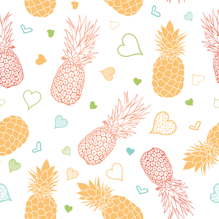 Vector orange green pineapples stars summer tropical seamless pattern background. Great as a textile print, party invitation or packaging.