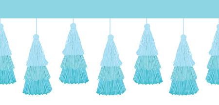 Vector layered blue decorative tassels set. Horizontal seamless repeat border pattern. Great for handmade cards, invitations, wallpaper, packaging, nursery designs.