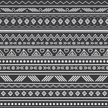 Vector abstract black and white tribal stripes seamless pattern background. Great for fabric, wallpaper, invitations, scrapbooking. Surface pattern design.