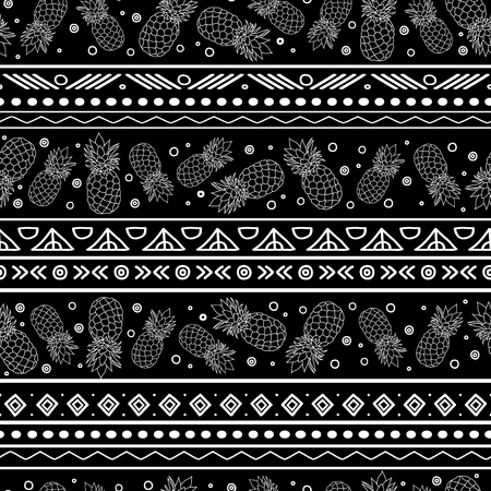 Vector black and white tribal pineapples stripes seamless pattern background. Great for fabric, wallpaper, invitations, scrapbooking. Surface pattern design.