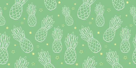Vector pineapples doodle green texture summer tropical seamless pattern background. Great as a textile print, party invitation or packaging. Surface pattern design.