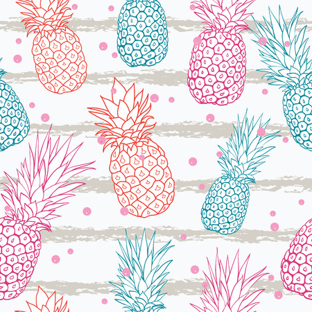 Vector pineapple on grunge stripes summer colorful tropical seamless pattern background.
