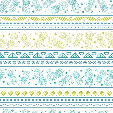A Vector blue green tribal pineapples stripes seamless pattern background. Great for fabric, wallpaper, invitations, scrapbooking.