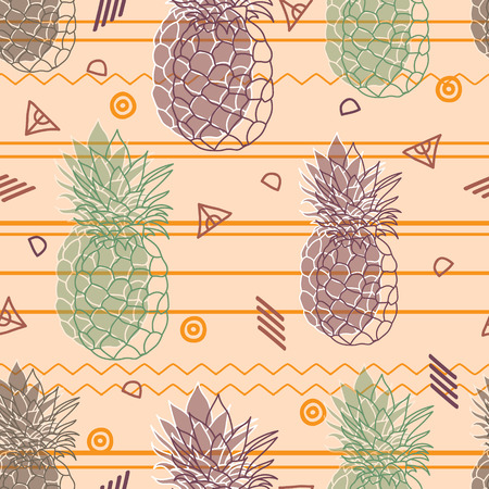Vintage pineapples vector background seamless pattern.