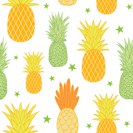 A Pineapples and stars vector background seamless repeat pattern. Summer colorful tropical textile print.