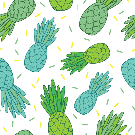 A Vector blue green pineapples doodle texture summer tropical seamless pattern background. Great as a textile print, party invitation or packaging.