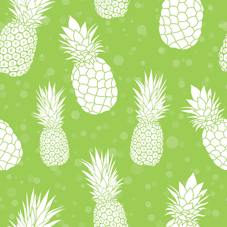 A Vector green pineapples summer colorful tropical seamless pattern background. Great as a textile print, party invitation or packaging. Illustration