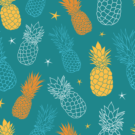 A Vector teal blue and yellow oineapples summer colorful tropical seamless pattern background. Great as a textile print, party invitation or packaging.