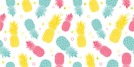 Vector colorful pineapples summer tropical seamless pattern background. Illustration