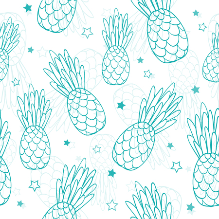 A Vector doodle turquoise blue pineapples and stars summer tropical seamless pattern background. Great as a textile print, party invitation or packaging.