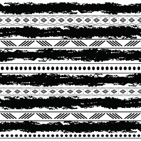 Black and white tribal vector seamless pattern with doodle elements. Aztec abstract geometric art print. Ethnic ornamental hand drawn backdrop. Illustration