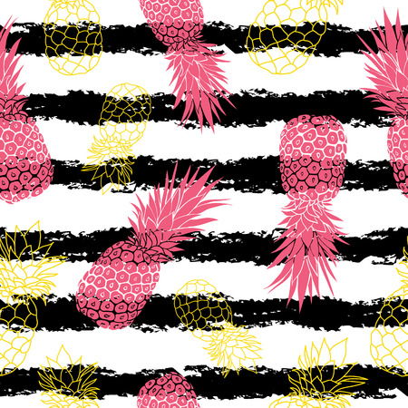 Vintage grunge pink and yellow pineapples and stripes vector background seamless repeat pattern. Summer colorful tropical textile print.
