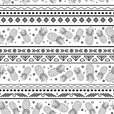 Vectorblue black and white tribal pineapples stripes seamless pattern background. Great for fabric, wallpaper, invitations, scrapbooking.