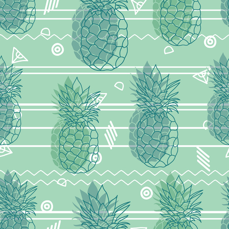 Vintage tribal mint green pineapples vector background seamless repeat pattern. Summer colorful tropical textile print. Illustration