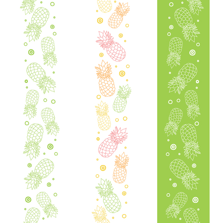 Vector pineapples vertical seamless repeat pattern borders. Summer colorful tropical textile print. Illustration