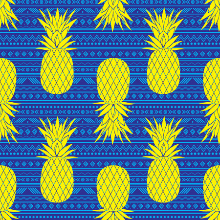 Vector blue and yellow tribal pineapples stripes seamless pattern background. Great for fabric, wallpaper, invitations, scrapbooking.