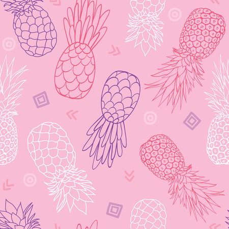 Vector pink and purple pineapples doodle texture summer tropical seamless pattern background. Great as a textile print, party invitation or packaging. Illustration