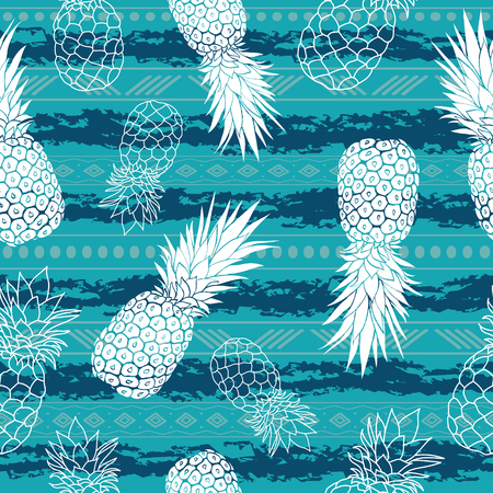 Vintage grunge pineapples and stripes vector background seamless repeat pattern. Summer colorful tropical textile print.