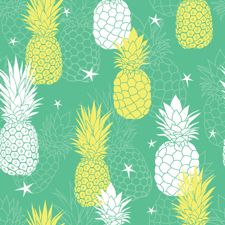 Vector mint green and yellow pineapples and stars summer tropical seamless pattern background. Great as a textile print, party invitation or packaging.