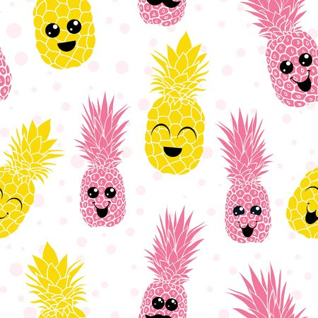 Vector happy smiling pineapples characters seamless pattern background. Great for summer design projects, fabric, wallpaper, gift wrap.