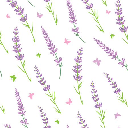 Vector lavender flowers purple green silhouettes seamless pattern. Beautiful violet lavender retro background. Elegant fabric on light background
