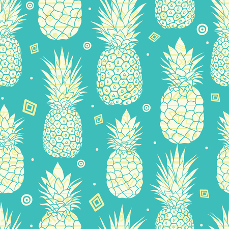 Vector blue green pineapples summer tropical seamless pattern background. Great as a textile print, party invitation or packaging. Illustration