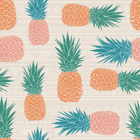 Vector folk tribal pineapples vector background seamless repeat pattern. Summer colorful tropical textile print. Illustration