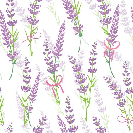 Lavender flower bouquets purple vector seamless pattern. Beautiful violet lavender retro background. Elegant fabric on light background Surface pattern design. Stock Photo