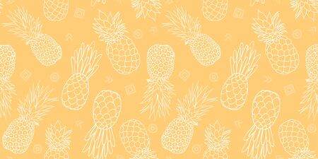 Yellow pineapples seamless repeat pattern design. Summer colorful tropical textile print. Surface pattern design. Stock Photo