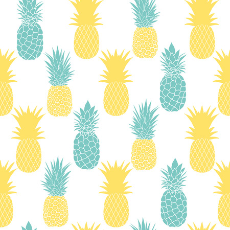 Blue and yellow pineapples seamless repeat pattern. Summer colorful tropical textile print. Surface pattern design.