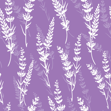Lavender flowers purple vector seamless pattern. Beautiful violet lavender retro background. Elegant fabric on light background Surface pattern design. Stock Photo