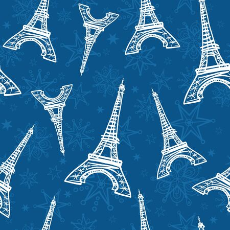 Vector Blue Eifel Towers and Flowers Seamless Repeat Pattern. Perfect for travel themed postcards, greeting cards, wedding invitations. Surface pattern design.