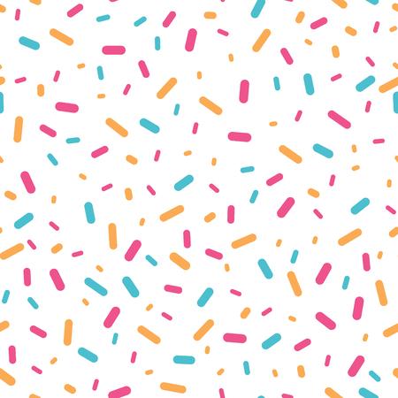 カラフルな紙吹雪はシームレスなパターンを振りかけます。誕生日パーティーやイベントのお祝いの招待状や装飾に最適です。表面パターンのデザ