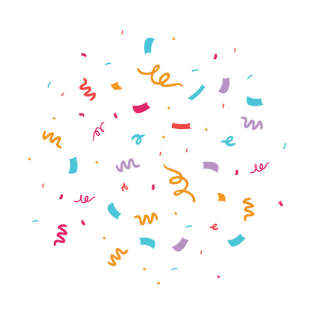 Colorful confetti vector illustration. Great for a birthday party or an event celebration invitation or decor.  イラスト・ベクター素材