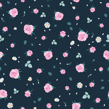 Pink roses ditsy vintage seamless pattern. Great for retro summer fabric, scrapbooking, giftwrap, and wallpaper design projects. Surface pattern design.