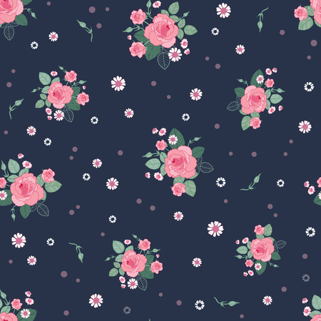Pink grey roses ditsy vintage seamless pattern. Great for retro summer fabric, scrapbooking, giftwrap, and wallpaper design projects. Surface pattern design.