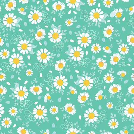 Vintage daisies ditsy seamless pattern. Great for summer vintage fabric, scrapbooking, wallpaper, giftwrap. Suraface pattern design.