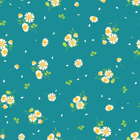 Cute daisies ditsy seamless pattern. Great for summer vintage fabric, scrapbooking, wallpaper, giftwrap. Suraface pattern design.