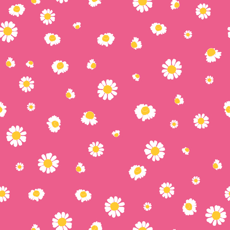 Pink yellow daisies ditsy seamless pattern. Great for summer vintage fabric, scrapbooking, wallpaper, giftwrap. Suraface pattern design.